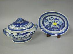 Canton Blue and White Porcelain Sauce Tureen and Undertray