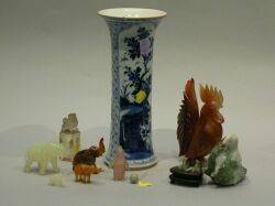 Six Chinese Carved Hardstone Items and a Blue and White Porcelain Vase