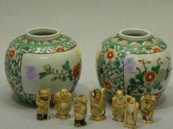 Seven Carved Ivory Netsuke and a Pair of Chinese Porcelain Ginger Jars