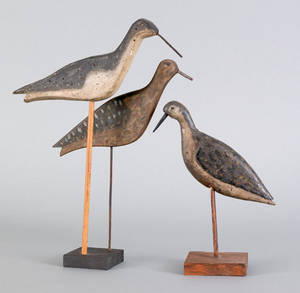 Group of yellowlegs shore bird decoys early 20th c