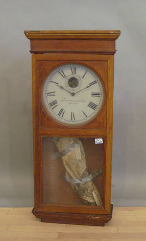 Self Winding Clock Co oak wall clock