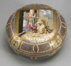 Austrian Porcelain Enamel Decorated Covered Dresser Box