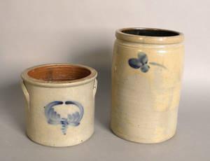 Two decorated stoneware crocks