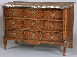 Louis XVXVI Fruitwood and Ebony Inlaid Tulipwood Marbletop Commode