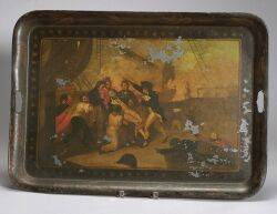 Tole Tray with Painted with Scene of the Fall of Admiral Nelson