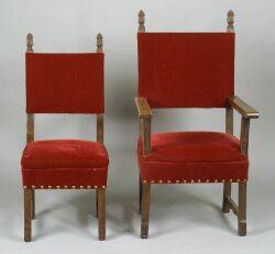 Set of Ten Italian Renaissancestyle Red Velvet Upholstered Dining Chairs