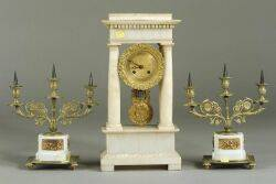 Pair of Empirestyle Ormolu and Sevres Bisque Porcelain Three Light Candelabra