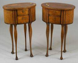 Pair of Continental Ebony Inlaid and Circassian Burl Walnut Two Drawer Tables