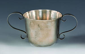 New York silver caudle cup ca 1725