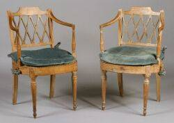 Pair of Italian Neoclassical Caned Fauteuils