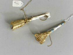 Two Gilt Metal Mounted Tussie Mussie Posy Holders