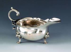 Boston silver sauce boat ca 1770