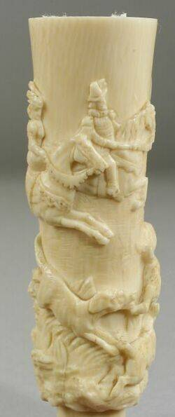 Continental Carved Ivory Cane Handle