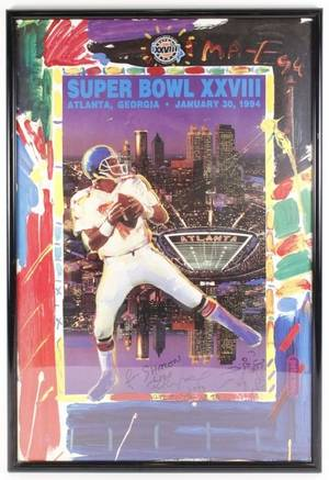 Peter Max Signed Atlanta Super Bowl XXVIII Poster
