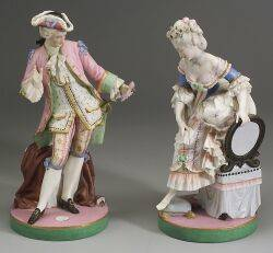 Pair of Bisque Porcelain Figures of a Lady and Gentleman
