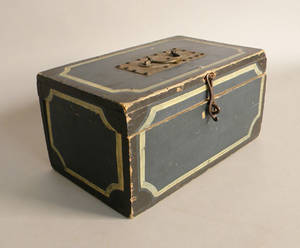 Painted storage box with blue ground and yellow and black striping