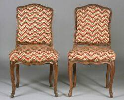 Set of Four Louis XV Beechwood Side Chairs and a Later Copy