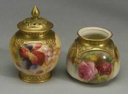 Two Royal Worcester Porcelain Potpourri Vases