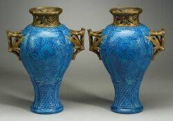 Important Pair of Royal Worcester Porcelain Japonesque Vases