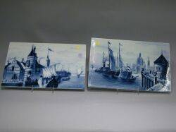 Pair of Villeroy  Boch Delftstyle Blue and White Scenic Porcelain Plaques