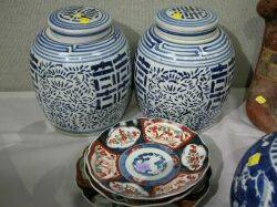 Pair of Chinese Blue and White Porcelain Ginger Jars and Three Imari Porcelain Bowls
