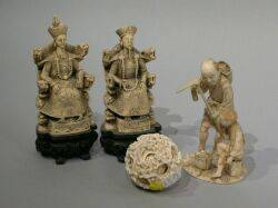 Four Asian Carved Ivory and Celluloid Items