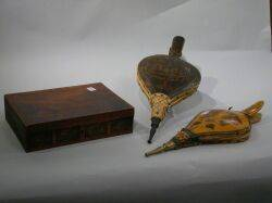 Two Painted and Decorated Bellows and a Scenic Transfer Decorated Walnut Veneer Docu Box