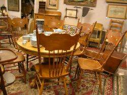 Oak Pedestal Dining Table and a Set of Six Late Victorian Pressed Oak Dining Chairs