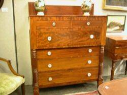 Classical Carved Cherry and Mahogany Veneer Bureau