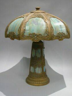 Giltmetal and Bent Blue Slag Glass Panel Table Lamp with Illuminated Base