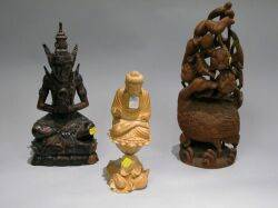 Three Asian Carved Wood Figures