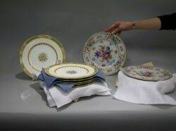 Set of Eleven Mintons Porcelain Dinner Plates and Six Schumann Dresden Floral Decorated Porcelain Dinner Plates