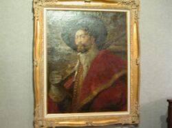 Large Framed Oil Portrait of a Cavalier