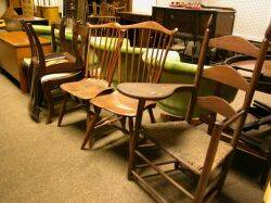 Pair of Windsor Fanback Side Chairs and a Slatback Writing Armchair