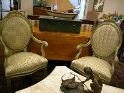 Pair of French Upholstered and Painted Armchairs