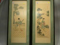 Framed Pair of Asian Paintings on Silk