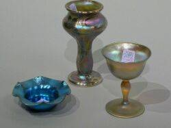 Tiffany Gold Favrile Glass Wine and Bohemian Silver Overlaid Gold Iridescent Glass Vase and a Steuben Ruffled Blue Lustre Glass Salt