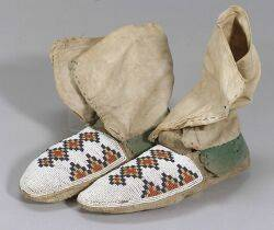Northern Plains Beaded Hide and Cloth Moccasins