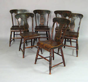 Set of six New England painted plank seat chairs