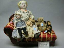 Three Dolls Steiff Teddy Bear and Monkey and Miscellaneous Furniture