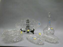 Oak Tantalus with Cut Glass Bottles and a Group of Assorted Colorless Cut Glass Table Items