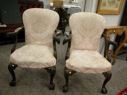 Pair of Centennial Chippendale Upholstered Carved Mahogany Armchairs