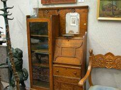 Late Victorian Oak Dropfront DeskBookcase