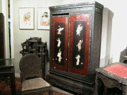 Japanese Carved Wood Cabinet on Stand