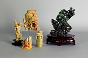 Four pieces of Chinese carved soapstone