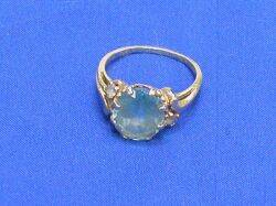 14kt Gold Ring with a BlueGreen Stone
