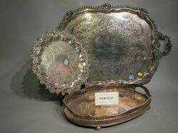 Four Assorted English Silverplated Serving Trays