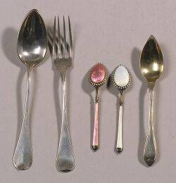Set of Twelve Norwegian Sterling Silver and Enameled Demitasse Spoons and Seven Pieces of Assorted Flatware