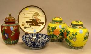 Pair of Chinese Export Porcelain Ginger Jars a Cloisonne Covered Jar and a Japanese Porcelain Bowl and Dish