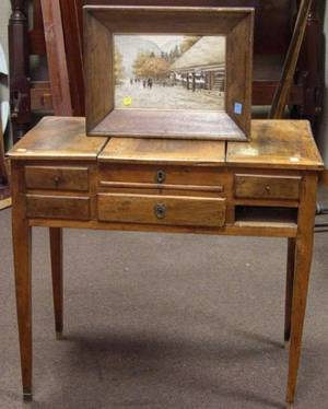 Continental Provincial Fruitwood Dressing Table and a Framed Japanese Needlework Scenic Panel
